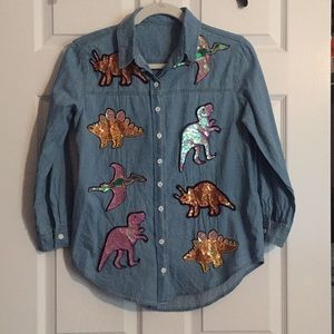 Sequin Dinosaur Chambray Button-Up